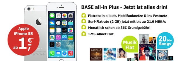 iPhone 5s mit E-Plus BASE all-in Plus