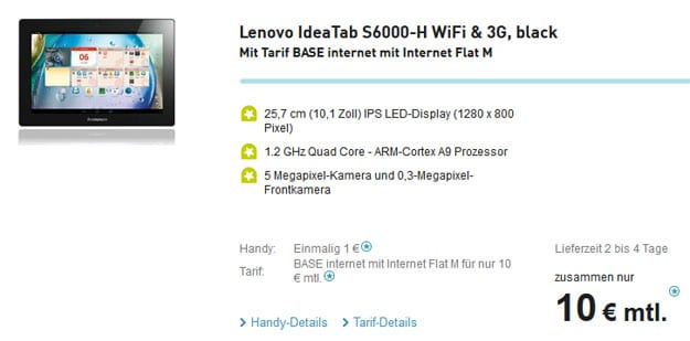Lenovo IdeaTab S6000 mit BASE Datentarif
