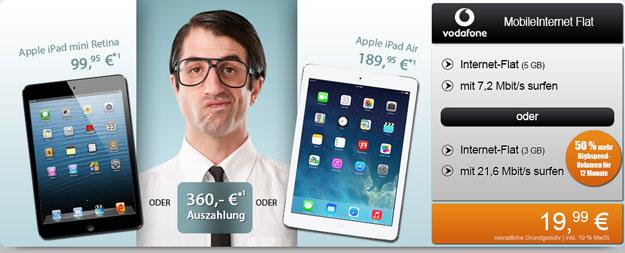Vodafone MobileInternet Flat mit iPad oder 360 € Auszahlung