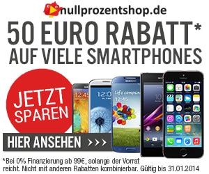 Nullprozentshop Smartphones mit 50 € Rabatt