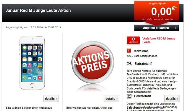 Vodafone RED M Junge Leute mit 120 € Startguthaben und iPhone 5s