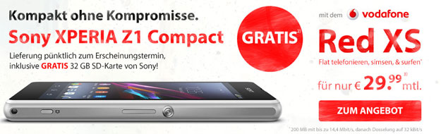 Vodafone RED XS mit dem Sony Xperia Z1 Compact