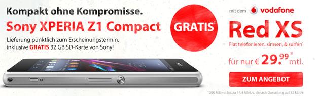 Vodafone RED XS mit dem Sony Xperia Z1 Compact