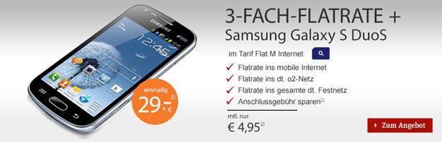 Samsung Galaxy S Duos mit o2 Flat M Internet