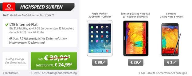 Vodafone MobileInternet Flat mit iPad Air oder Samsung Galaxy Note 10.1 (2014 Edition) LTE