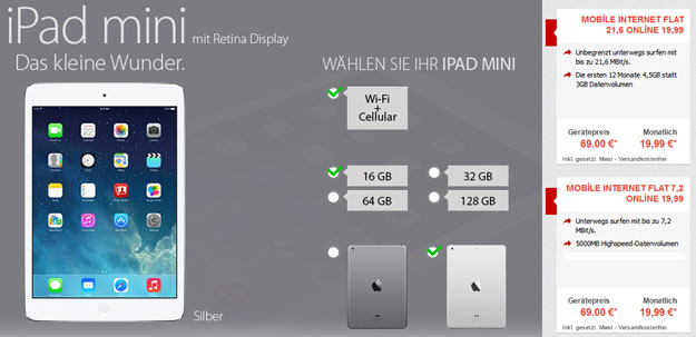 Vodafone Datentarife mit iPad Mini 2 Retina oder iPad Air