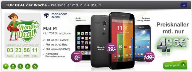 Wonder Deal mit o2 Flat M Internet und Smartphones mit Gewinn
