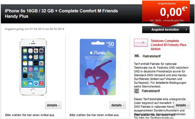 iPhone 5s + Telekom Complete Comfort M mit 50 € iTunes-Gutschein