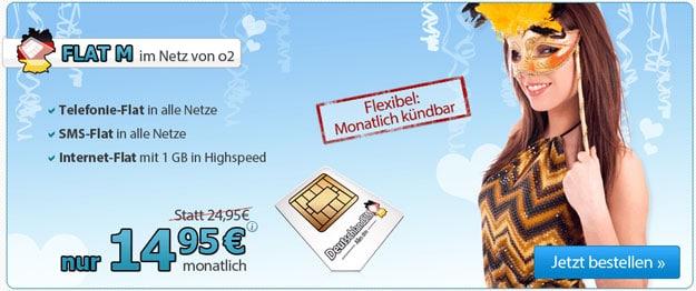 DeutschlandSIM Flat M für 14,95 EUR