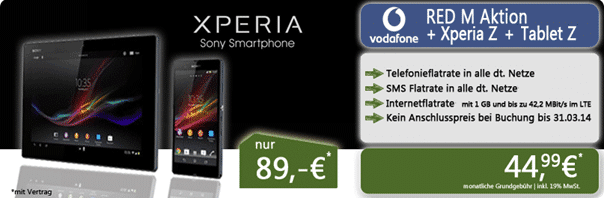 Sony Xperia Z + Tablet Z + Vodafone Red M