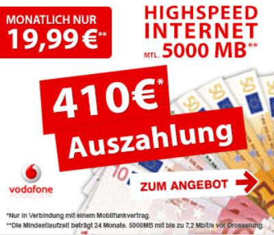 Vodafone Datenflat mit 410 EUR Auszahlung