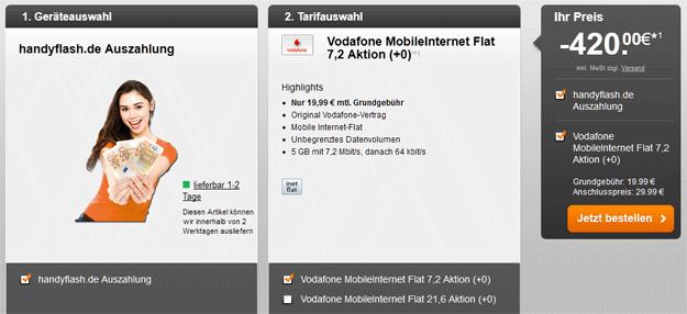 Vodafone Datenflat 420 EUR Auszahlung