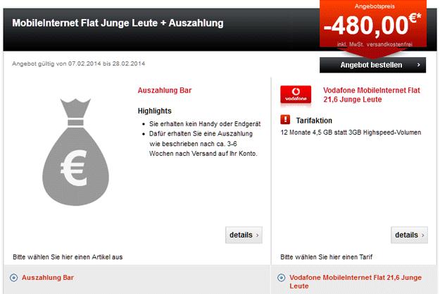 Vodafone Datenflat 480 EUR Auszahlung