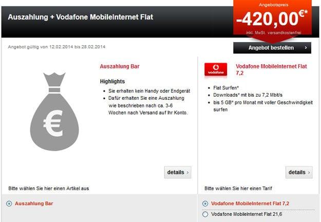 Vodafone MobileInternet Flat mit 420 EUR Auszahlung