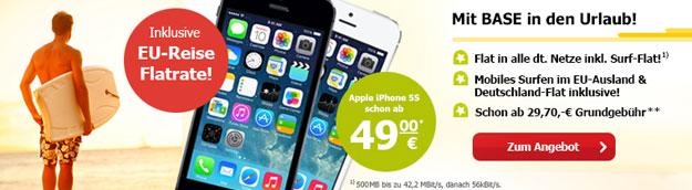 BASE all-in mit EU-Reiseflat und iPhone 5s bei LogiTel
