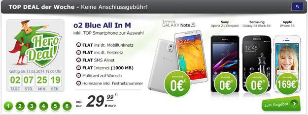 o2 Blue All-in M mit Smartphones ab 0 € im Deal der Woche