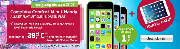 Telekom Complete Comfort M mit iPhone 5c 32GB und iPad Mini 2 mit Retina Display