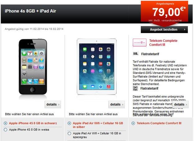 Telekom Complete Comfort M mit z.B. iPhone 4S und iPad Mini 2 Retina