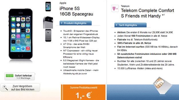 Telekom Complete Comfort S mit iPhone 5s