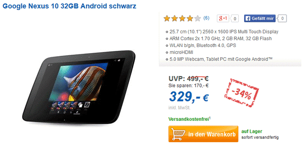 Samsung Google Nexus 10 32GB bei Computeruniverse