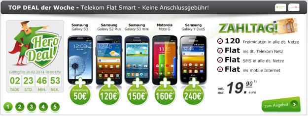 Hero Deal mit Telekom Flat Smart und Auszahlung bis zu 240 €