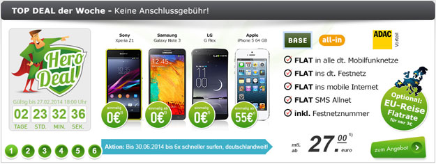 Hero Deal mit BASE all-in und Reiseflat