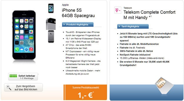iPhone 5s 64GB - Telekom Complete Comfort M