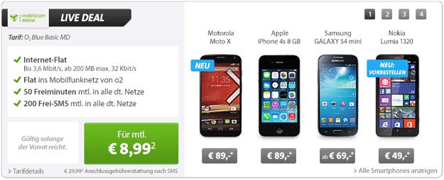 Livedeal: mobilcom-debitel o2 Blue Basic mit Motorola Moto X, Samsung Galaxy S4 Mini