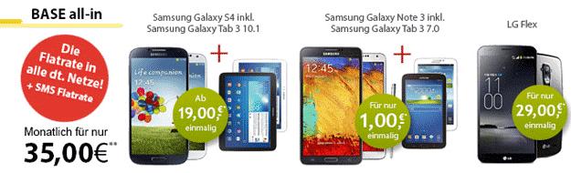 BASE all-in bei LogiTel mit Smartphones und Tablets