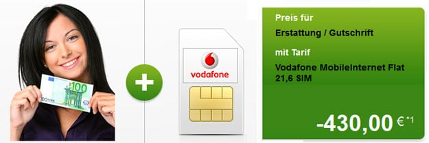 Modeo: Vodafone-Datenflats mit 430 € Auszahlung