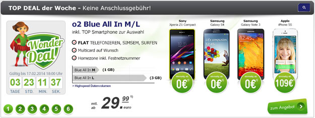 o2 Blue All-in M oder L mit Top-Smartphones