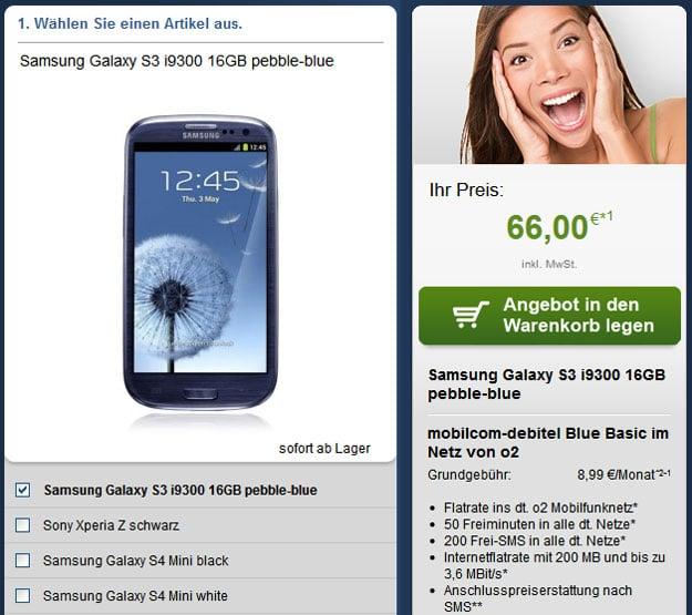 o2 Blue Basic mit Samsung Galaxy S3 und S4 Mini