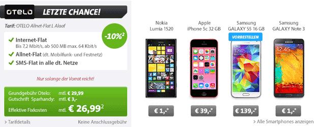 Otelo Allnet-Flat L Karneval-Aktion Alaaf u.a. mit Nokia Lumia 1520, Samsung Galaxy S5