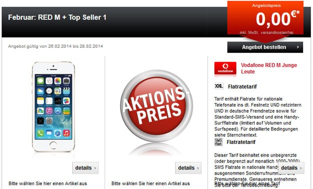 Vodafone RED M + iPhone 5s oder Smartphone + Tablet