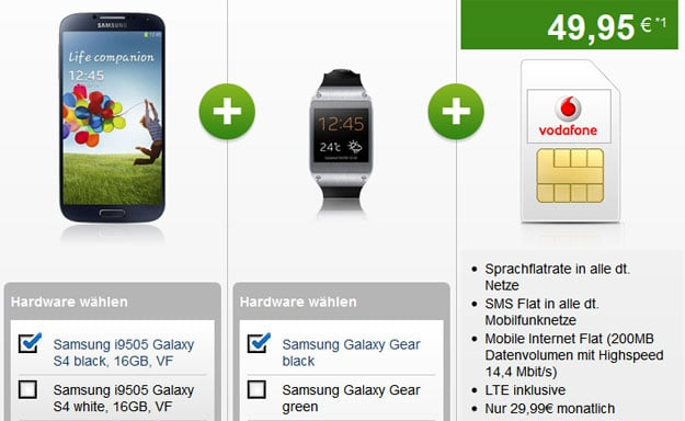 Vodafone Red XS mit Samsung Galaxy S4 + Samsung Galaxy Gear