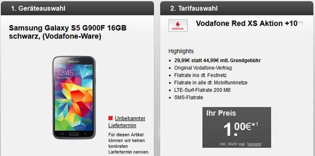 Samsung Galaxy S5 mit dem Vodafone RED XS