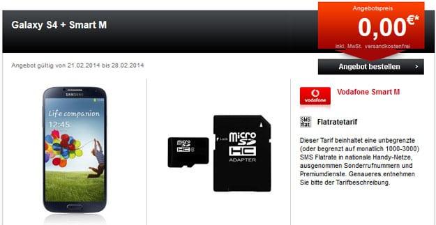 Vodafone Smart M mit Samsung Galaxy S4 und 2 GB Best of Samsung Apps MicroSD