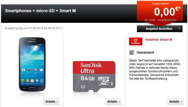 Vodafone Smart M mit Smartphone und 64 GB MicroSD-Karte von SanDisk
