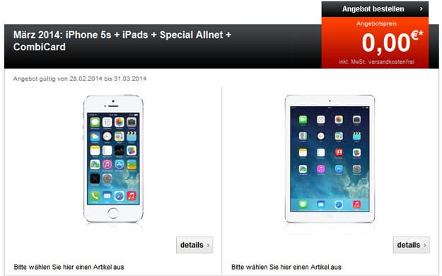 Telekom Special Allnet mit Combicard und iPhone 5s + iPad Air oder Mini 2 Retina