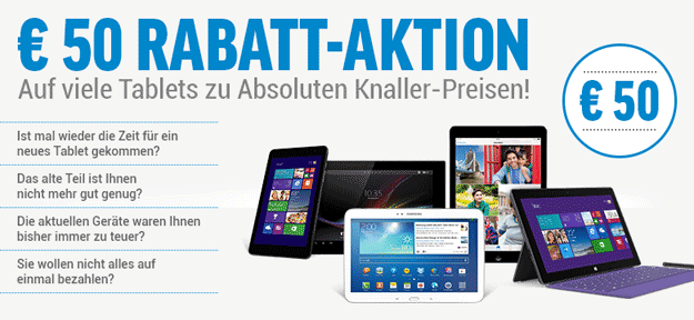 50 € Rabatt-Aktion auf Tablets bei notebooksbilliger.de