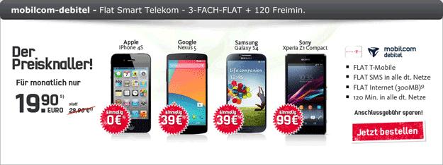 Telekom Flat Smart u.a. mit Samsung Galaxy S4, Google Nexus 5