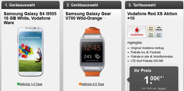 Vodafone Red XS mit Samsung Galaxy S4 + Samsung Galaxy Gear