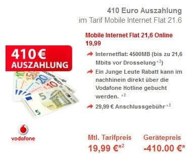 Vodafone Datentarif mit 410 € Auszahlung