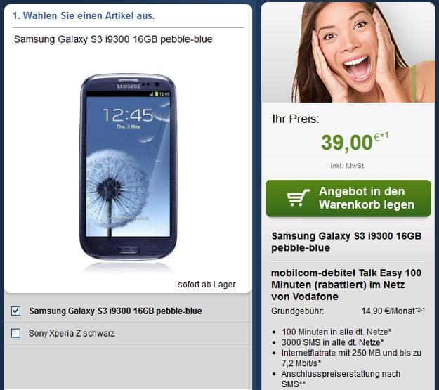 Vodafone Easy 100 mit Samsung Galaxy S3 oder Sony Xperia Z