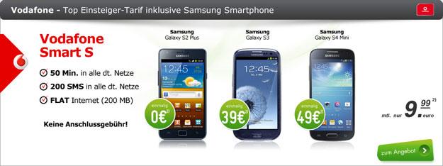 Vodafone Smart S mit Samsung Galaxy S3 u.a.