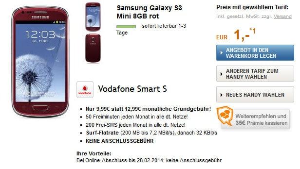 Vodafone Smart S + Samsung Galaxy S3 Mini + 35 € Weiterempfehlungsprämie