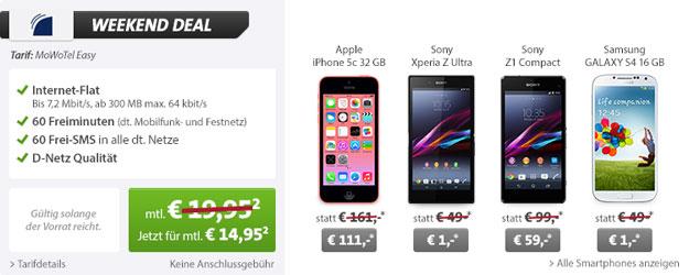 Weekend-Deal: MoWoTel Easy + Smartphone mit bis zu 84 € Gewinn