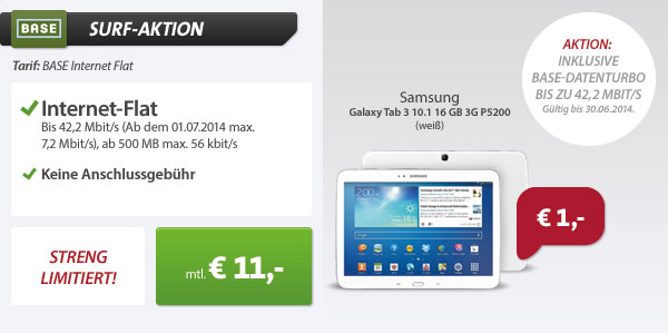 BASE Internet Flat mit Galaxy Tab 3