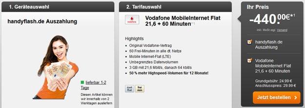 Vodafone Datenflat + 60min mit 440 EUR Auszahlung