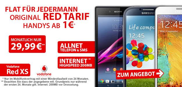 Vodafone Red XS mit 400 MB LTE-Flat